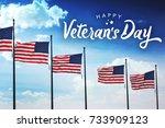 veteran's day typography over... | Shutterstock . vector #733909123