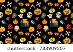 seamless halloween pattern on... | Shutterstock . vector #733909207