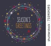 season's greetings card. round... | Shutterstock .eps vector #733909393
