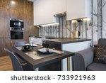 modern interior design kitchen... | Shutterstock . vector #733921963