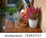 autumn decoration on the... | Shutterstock . vector #733927717