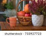 autumn decoration on the... | Shutterstock . vector #733927723