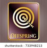 golden badge with target ... | Shutterstock .eps vector #733948213