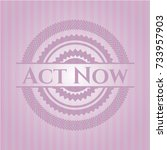 act now badge with pink... | Shutterstock .eps vector #733957903