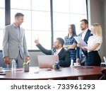 a group of office workers... | Shutterstock . vector #733961293