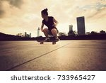 young woman skateboarder... | Shutterstock . vector #733965427