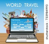 laptop online flight booking... | Shutterstock .eps vector #733984993