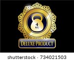 golden emblem with 4kg... | Shutterstock .eps vector #734021503