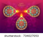 happy diwali festival card with ... | Shutterstock .eps vector #734027053
