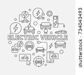 electric vehicle round...   Shutterstock .eps vector #734043493