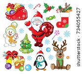 christmas card with santa claus ... | Shutterstock .eps vector #734055427
