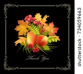floral thank you card with... | Shutterstock .eps vector #734059663