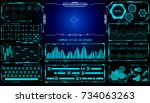 hud user interface space... | Shutterstock .eps vector #734063263