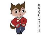 kid in halloween werewolf... | Shutterstock .eps vector #734064787