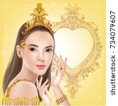 beautiful woman with gold... | Shutterstock .eps vector #734079607