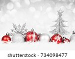 Christmas Red Balls With Silve...