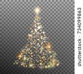 christmas glitter bokeh lights... | Shutterstock .eps vector #734099863