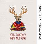 christmas deer. merry christmas ... | Shutterstock .eps vector #734109853