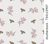 seamless pattern with holiday... | Shutterstock .eps vector #734115907