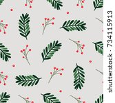 seamless pattern with holiday... | Shutterstock .eps vector #734115913