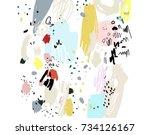 brush  marker  pencil stroke... | Shutterstock .eps vector #734126167