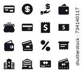 16 vector icon set   card ...   Shutterstock .eps vector #734140117