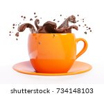 Splash Of Chocolate In Cup...