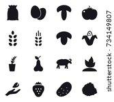 16 vector icon set   spikelets  ... | Shutterstock .eps vector #734149807
