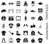 vogue icons set. simple style... | Shutterstock .eps vector #734151223