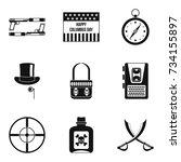 murder icons set. simple set of ... | Shutterstock .eps vector #734155897