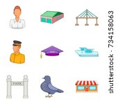 service clerk icons set.... | Shutterstock .eps vector #734158063