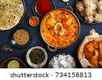indian cuisine on diwali... | Shutterstock . vector #734158813