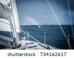 blue sea and beautiful bright... | Shutterstock . vector #734162617