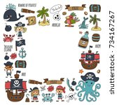 seamless pattern pirate party... | Shutterstock . vector #734167267