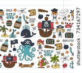 seamless pattern pirate party... | Shutterstock . vector #734167297