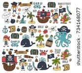 seamless pattern pirate party... | Shutterstock . vector #734168077