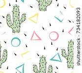 seamless abstract modern cactus ... | Shutterstock .eps vector #734182093