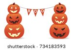 funny smiling pumpkins with... | Shutterstock .eps vector #734183593