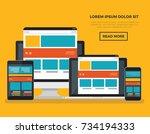 responsive  computer concept... | Shutterstock .eps vector #734194333