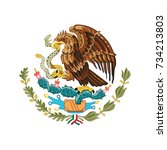mexican eagle. coat of arms of... | Shutterstock .eps vector #734213803