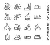 biomass line icon set. included ... | Shutterstock .eps vector #734215507