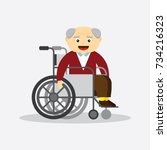 old man in a wheelchair... | Shutterstock .eps vector #734216323