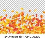 autumn leaves falling down... | Shutterstock .eps vector #734220307