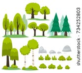 tree cartoon for decorative set | Shutterstock .eps vector #734252803
