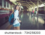 beautiful young asian woman... | Shutterstock . vector #734258203