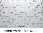 white triangular abstract... | Shutterstock . vector #734261017