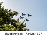 Small photo of Madrid, Spain - October 12, 2017: Four Eurofighter jets flying in Spanish National Day Parade. Shortly after the parade one of them crashed while landing on Albacete air base.