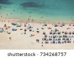 people at grand canary beach ... | Shutterstock . vector #734268757