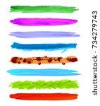vector watercolor grunge brush... | Shutterstock .eps vector #734279743