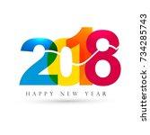 modern 2018 new year background   Shutterstock .eps vector #734285743